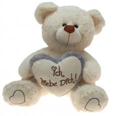 Plüsch Liebesbär mit Herz Grau 65 cm