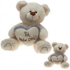 Plüsch Liebesbär mit Herz Grau 70 cm