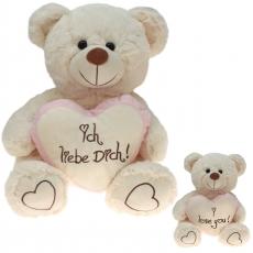 Plüsch Liebesbär mit Herz Rosa 80 cm