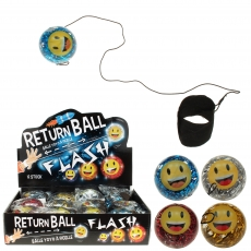 LED Returnball 65 mm Glitterball + Smiley