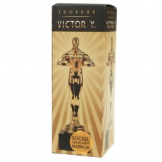 Goldene Trophäe Victor mit Steinfuss 17 cm