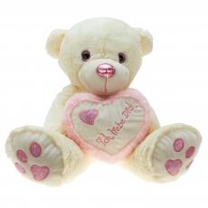 Plüsch Bär mit Herz Pink-Metallo  55 cm