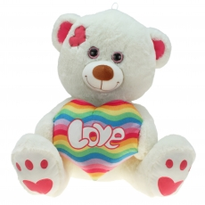 Kuschelbär mit Regenbogenherz-Herz Rainbow 40 cm
