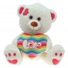 Kuschelbär mit Regenbogenherz-Herz Rainbow 50 cm