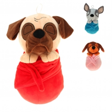 30 cm Hund im Handtuch 3-fach sortiert