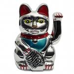 Winke-Katze 16 cm Silber