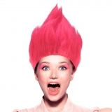 Perücke Troll in Pink