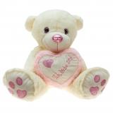 Plüsch Bär mit Herz Pink-Metallo  90 cm
