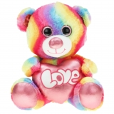Regenbogenbär mit Metallo-Herz Shiny 40 cm
