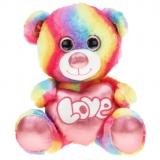 Regenbogenbär mit Metallo-Herz Shiny 80 cm