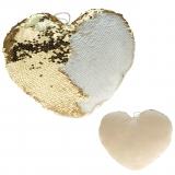 Plüsch Herz mit Pailletten creme-gold  50 cm