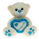 Plüsch Bär mit Herz Metallo-Blau  30 cm