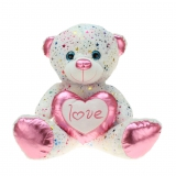 Stern Bär mit pink Herz 20 cm